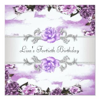 40.a fiesta del cumpleaños de la mujer púrpura de invitacion personalizada
