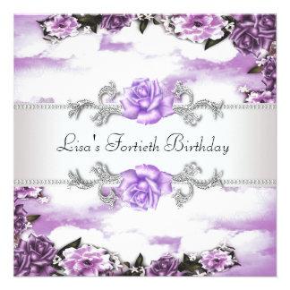 40 a fiesta del cumpleaños de la mujer púrpura de invitacion personalizada
