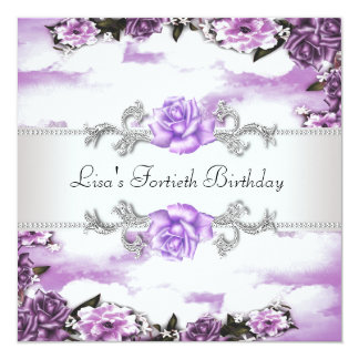 40.a fiesta del cumpleaños de la mujer púrpura de invitación 13,3 cm x 13,3cm