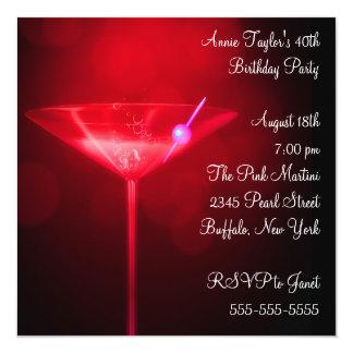 40.a fiesta del cumpleaños de la mujer roja de invitación 13,3 cm x 13,3cm