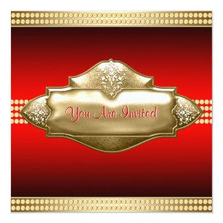 40.a fiesta del cumpleaños de la mujer roja del invitación 13,3 cm x 13,3cm