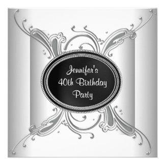 40 a fiesta del cumpleaños negra de la mujer blanc comunicados personales