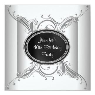 40.a fiesta del cumpleaños negra de la mujer invitación 13,3 cm x 13,3cm
