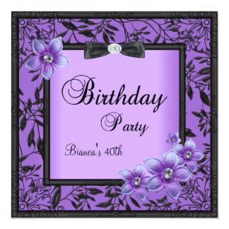 40.a flor negra púrpura para mujer de la fiesta de invitación 13,3 cm x 13,3cm