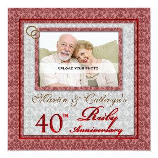 40.a foto de rubíes OBSOLETA del personalizado del Invitación 13,3 Cm X 13,3cm