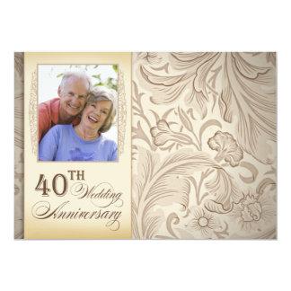 40.a foto del aniversario de boda invitación 12,7 x 17,8 cm