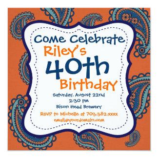 40.a invitación anaranjada azul de la fiesta de invitación 13,3 cm x 13,3cm
