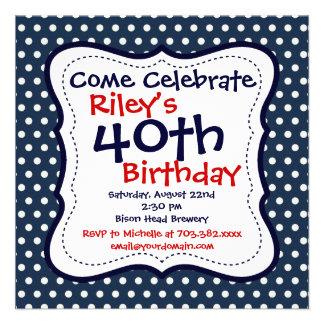 40 a invitación de la fiesta de cumpleaños de los
