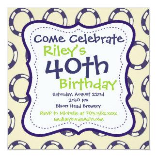 40.a invitación de la fiesta de cumpleaños del invitación 13,3 cm x 13,3cm