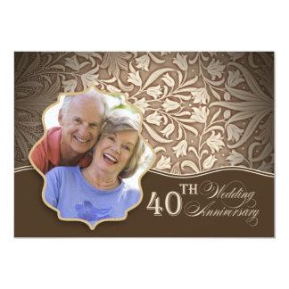 40.a invitación de la foto del aniversario de boda invitación 12,7 x 17,8 cm