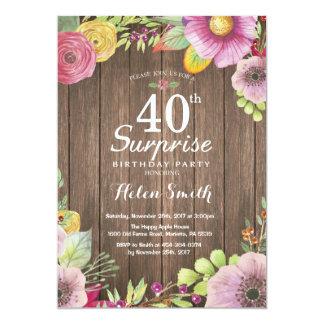 40.a invitación del cumpleaños de la sorpresa