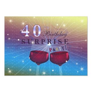 40.a invitación del cumpleaños de la sorpresa invitación 12,7 x 17,8 cm