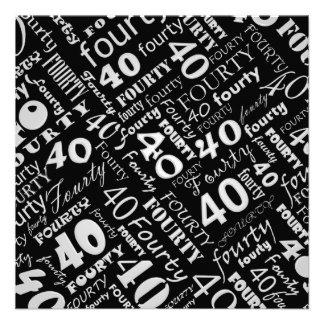 40 a invitación gris y negra de la fiesta de cumpl