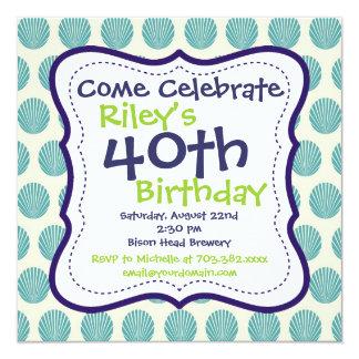 40.a invitación moderna de la fiesta de cumpleaños invitación 13,3 cm x 13,3cm