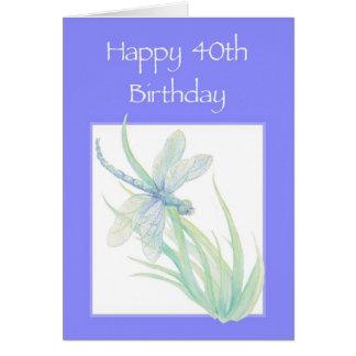 40.a naturaleza feliz de la libélula de la acuarel tarjeta de felicitación