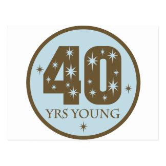 40 años de 40.o azul del cumpleaños de los jóvenes postal