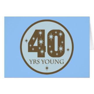 40 años de 40.o azul del cumpleaños de los jóvenes tarjetón