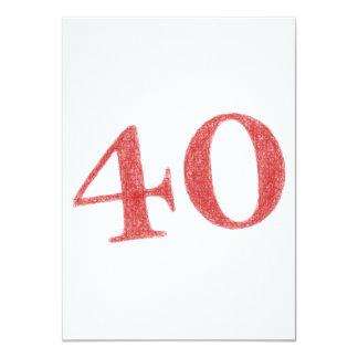 40 años de aniversario invitación 11,4 x 15,8 cm