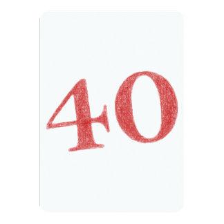 40 años de aniversario invitación 12,7 x 17,8 cm
