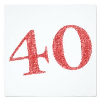 40 años de aniversario invitación 13,3 cm x 13,3cm