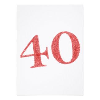 40 años de aniversario invitación 13,9 x 19,0 cm