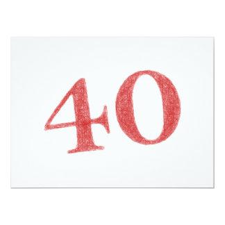 40 años de aniversario invitación 16,5 x 22,2 cm