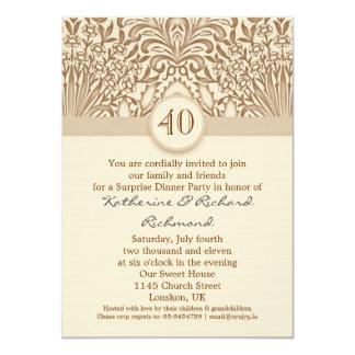 40 años de boda del aniversario de marrón del invitación
