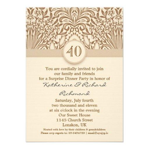 40 años de boda del aniversario de marrón del vint invitación