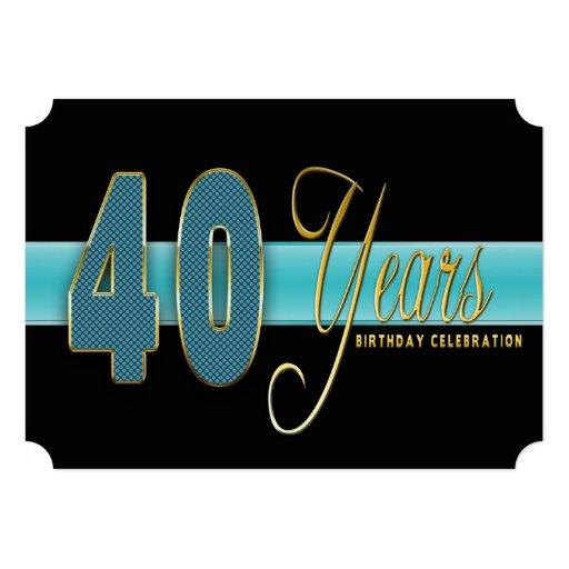 40 AÑOS DE CUMPLEAÑOS DE INVITACIÓN AQUA/BLACK DE