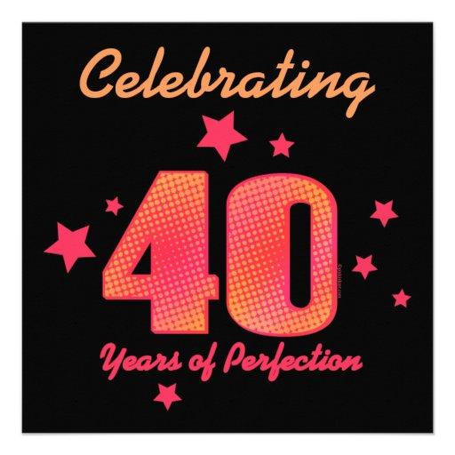 40 años de invitación de encargo del cumpleaños de