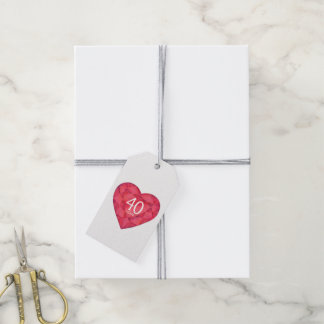 40 años de la joya del corazón de la acuarela de etiquetas para regalos