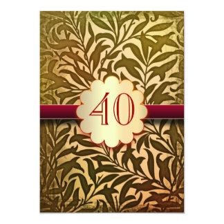 40 años del aniversario de invitaciones del invitación 12,7 x 17,8 cm