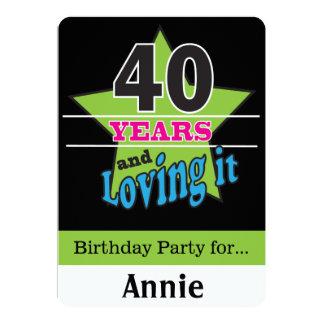 ¡40 años y amor de él! 40.o cumpleaños del | invitación 12,7 x 17,8 cm