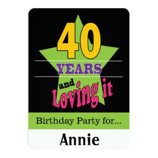 40 años y amor de él invitación 12,7 x 17,8 cm