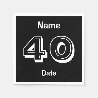 40.as fuentes personalizadas del fiesta del negro servilletas de papel