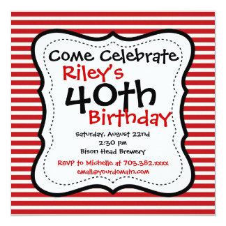 40.as invitaciones de la fiesta de cumpleaños del invitación 13,3 cm x 13,3cm