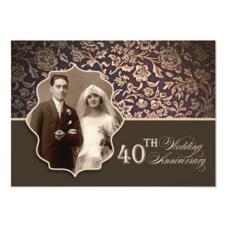 40.as invitaciones de la foto del aniversario de invitación 12,7 x 17,8 cm