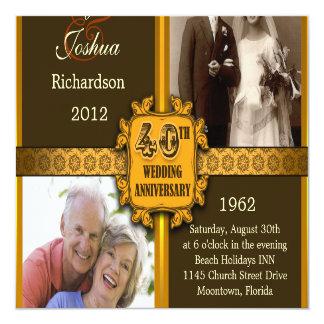 40.as invitaciones del aniversario de boda con las invitación 13,3 cm x 13,3cm