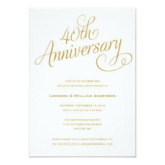 40.as INVITACIONES del ANIVERSARIO de BODA del | Invitación 12,7 X 17,8 Cm