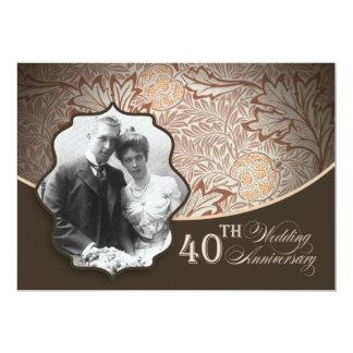 40.as invitaciones del aniversario de la foto invitación 12,7 x 17,8 cm