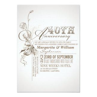 40.as invitaciones del aniversario de la invitación 12,7 x 17,8 cm