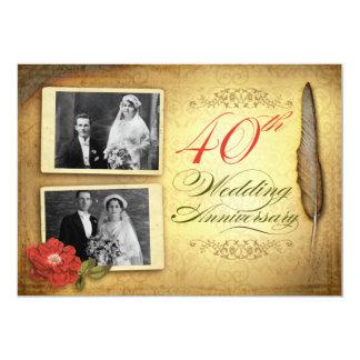 40.as invitaciones del aniversario del vintage con invitación 12,7 x 17,8 cm