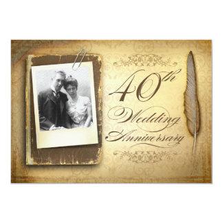 40.as invitaciones del vintage de la foto del invitación 12,7 x 17,8 cm
