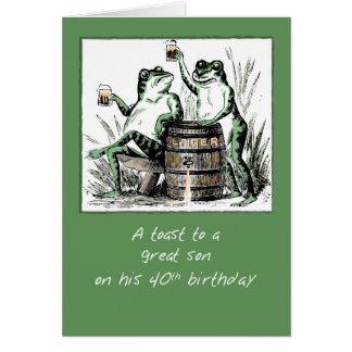 40.as ranas del cumpleaños del hijo que tuestan tarjeta de felicitación