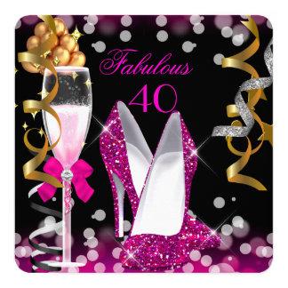 40 fiesta fabuloso de las burbujas 40.as del negro invitación 13,3 cm x 13,3cm