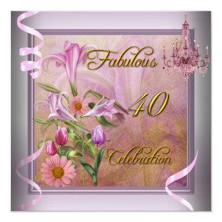 40 flores rosadas fabulosas de la lila de la invitación 13,3 cm x 13,3cm