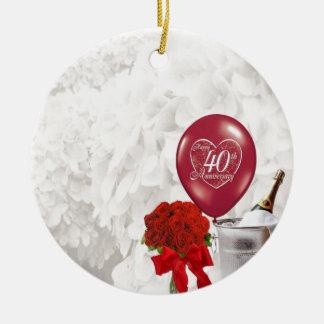 40.o Aniversario de boda Adorno Redondo De Cerámica