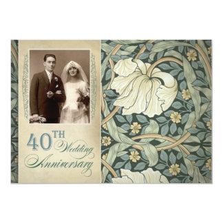 40.o aniversario de boda con el lirio y la foto invitación 12,7 x 17,8 cm
