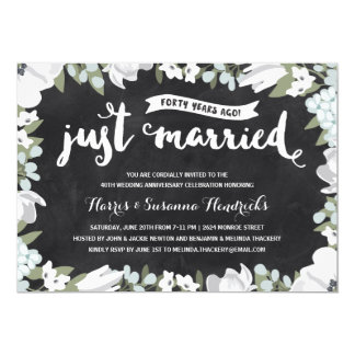 40.o aniversario de boda floral rústico del | invitación 12,7 x 17,8 cm