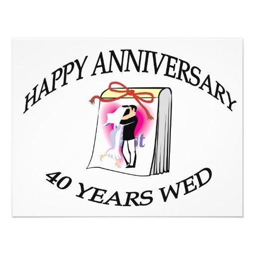 40.o. Aniversario de boda Invitaciones Personalizada